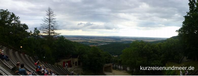 Blick ins Tal vom Bergtheater Thale aus (Harz)