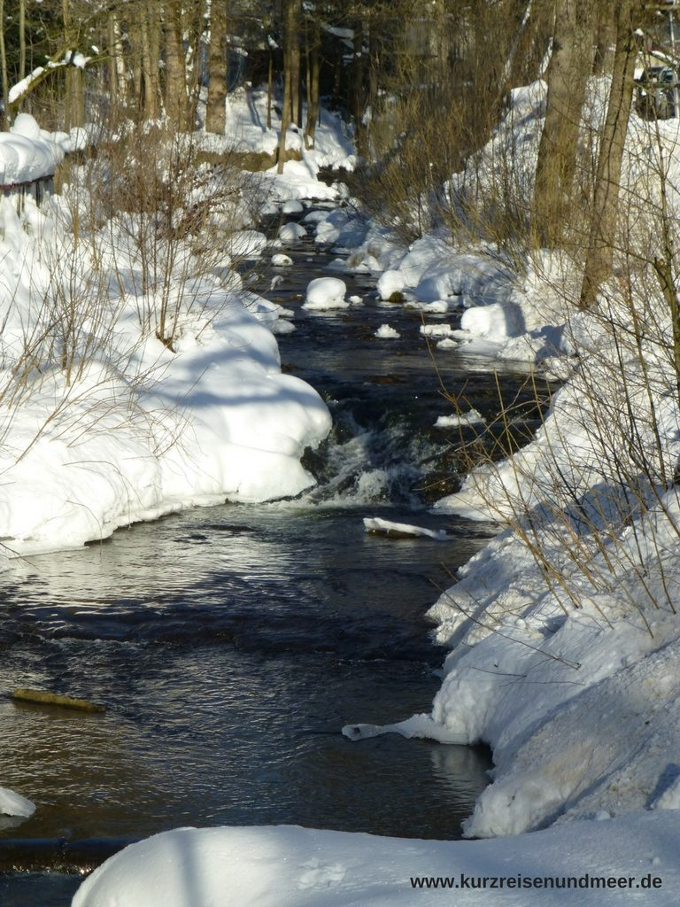 Das Bild zeigt einen zugeschneiten Bach in Braunlage im Harz.