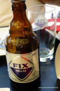 Das Bild ist von meiner Mittelmeer-Kreuzfahrt und zeigt eine Flasche Hellas Fix, welches ich in Athen getrunken habe.