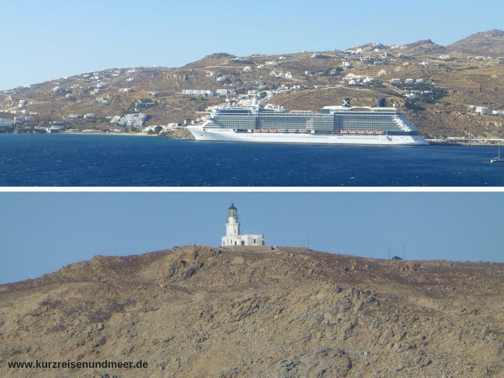 Das Bild zeigt Perspektiven von der Ausfahrt aus Mykonos.