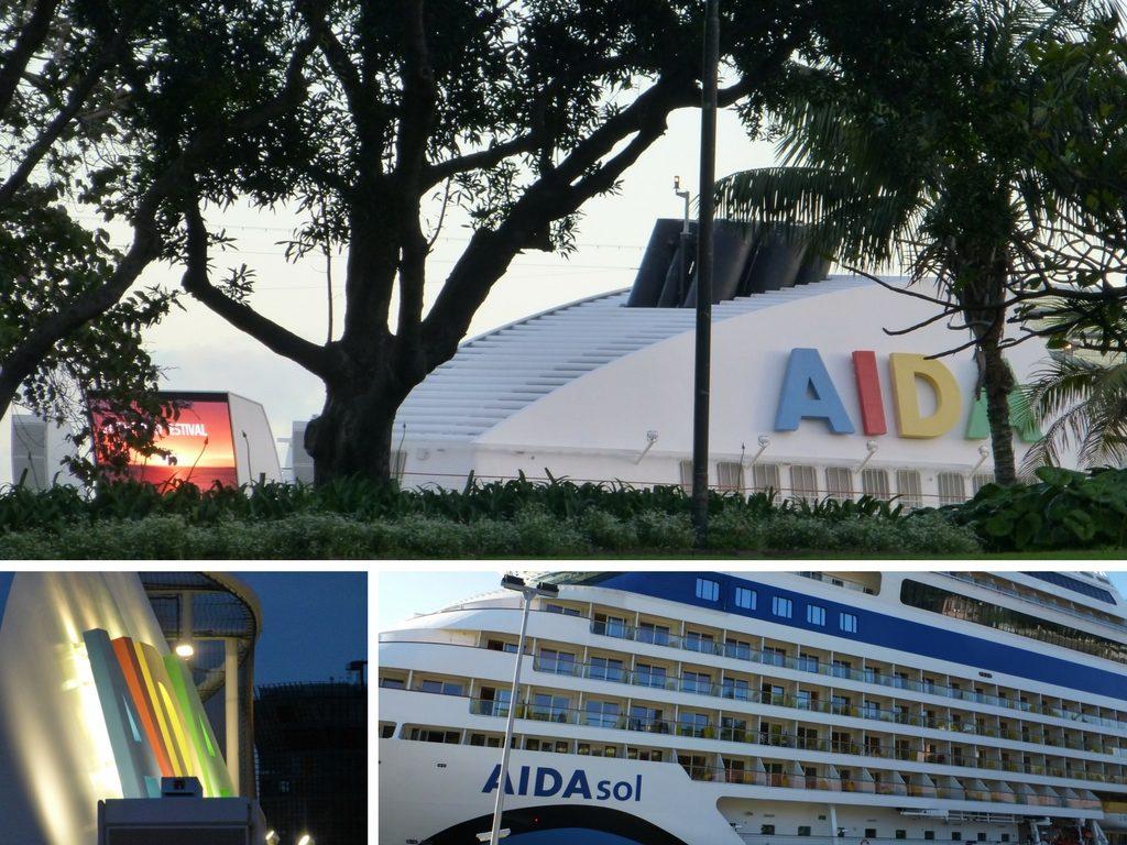 Das Bild zeigt eine Collage mit verschiedenen Ansichten der AIDAsol. Diese Kreuzfahrt hatten wir über JUST AIDA First Minute gebucht.