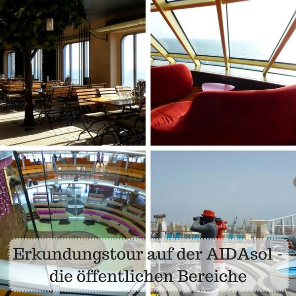 Das Bild ist eine Collage von Bilder der öffentlichen Bereiche der AIDAsol