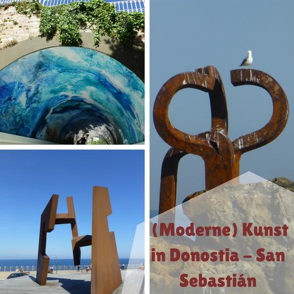 Das Bild zeigt die drei modernen Kunstwerke, die ich mir an meinem Tag in San Sebastián angeschaut habe.