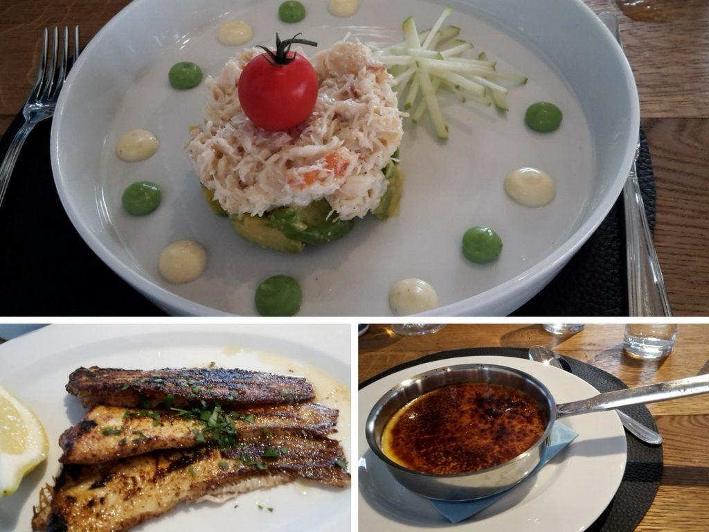 Das Essen im Restaurant De Torre. Von oben im Uhrzeigersinn sieht man eine super-eckere Vorspeise, Nordseekrabben auf Avocado, gebratene Baby-Seezungen und zum Nachtisch eine leckere Creme Brulee