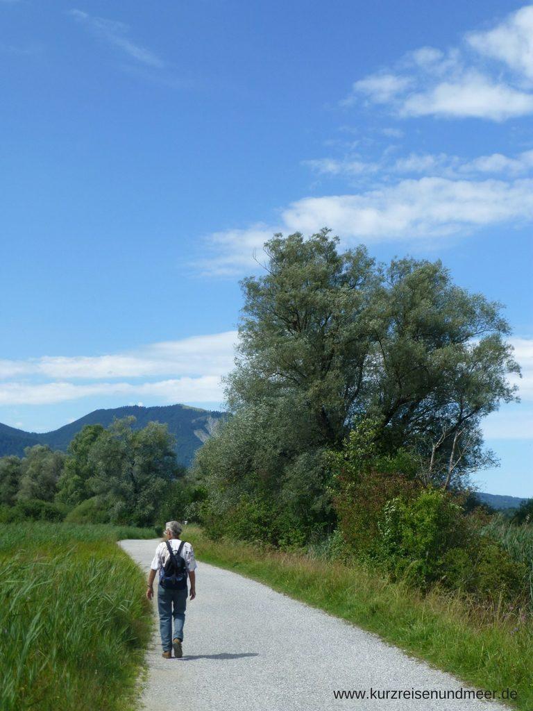 Das Bild zeigt meinen Schwiegervater auf einem Wanderweg im Murnauer Moos