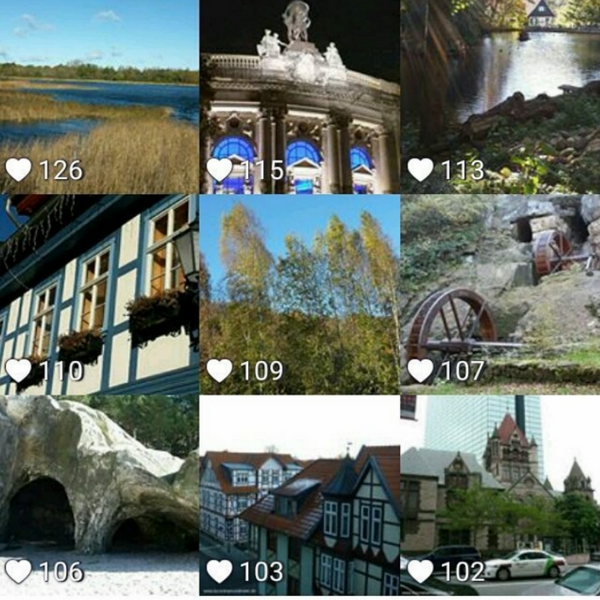 Das Bild zeigt die beliebtesten 9 Bilder meines Instagram-Accounts kurzreisenundmeer.de des Monats Oktober