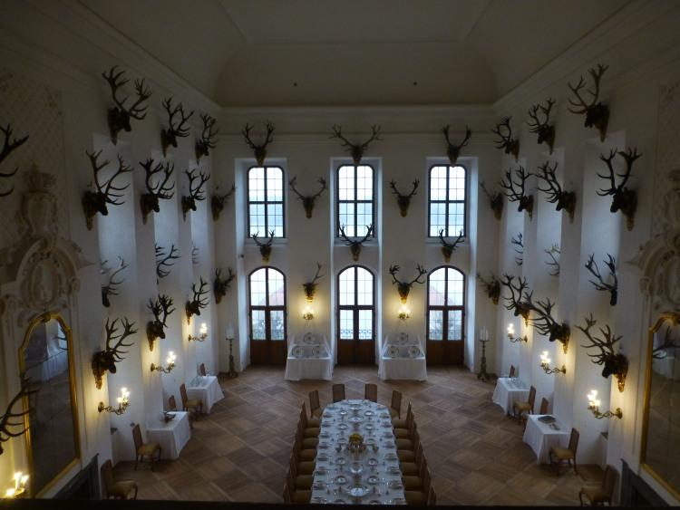 Saal mit Geweihen im Schloss Moritzburg
